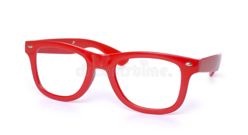 Red eye glasses isolated on white stock images