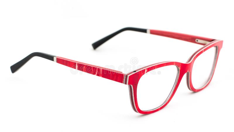 Red eye glasses on white background royalty free stock photos