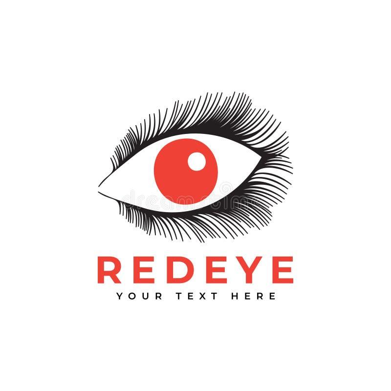 Red eye graphic design template illustration isolated. Clipart, icon, logo, logotype, cosmetic, lashes, eyelash, vintage, fashion, salon, women, beauty, pupil stock illustration