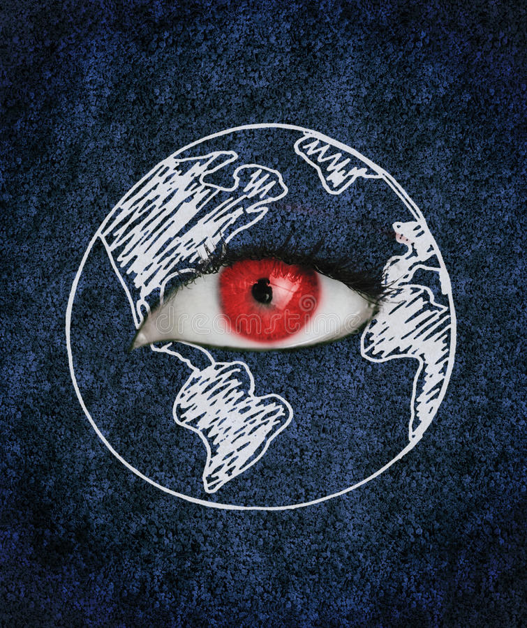 Red eye over blue texture surrounded by a drawing of the earth. Red eye with eyelashes over blue texture surrounded by a drawing of the earth stock photo