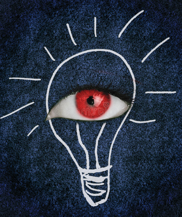 Red eye over blue texture surrounded by a drawing of a lightbulb. Red eye with eyelashes over blue texture surrounded by a drawing of a lightbulb royalty free stock photo