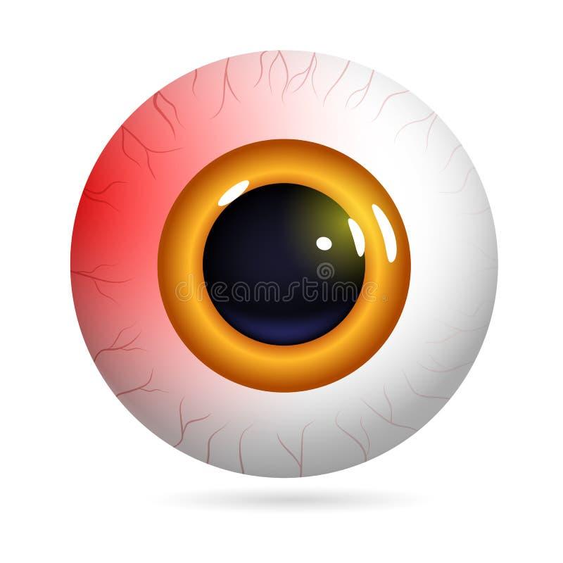 Red eyeball burst capillaries. Human eye front view close-up, cornea, retina, pupil. The red iris and white of the eye are red. Burst capillaries. Eyeball icon vector illustration