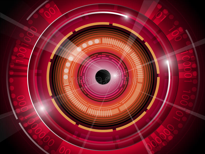Red eyeball with technology binary code background vector illustration