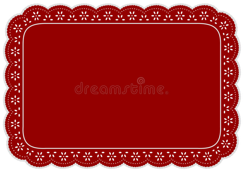 Download Red Eyelet Lace Place Mat stock vector. Illustration of empty - 15712159
