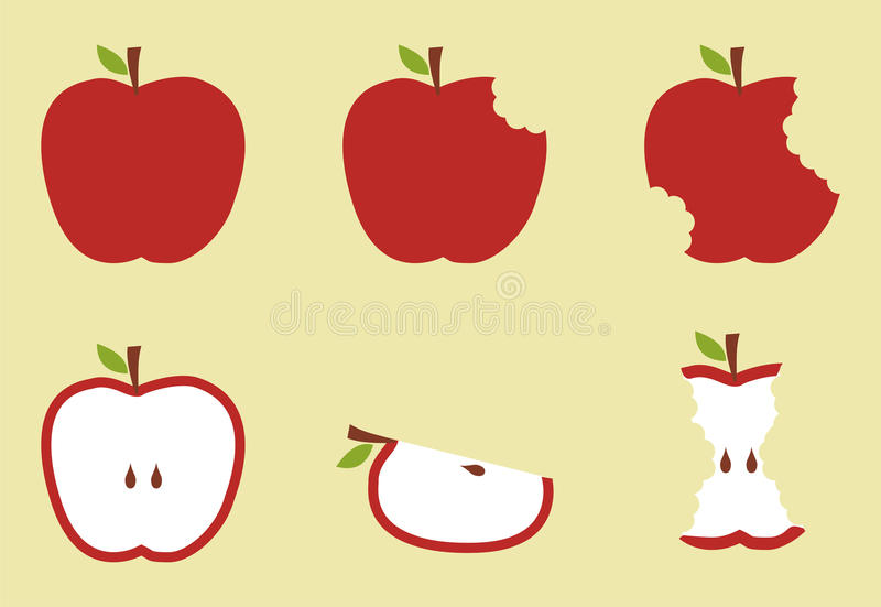red för äppleillustrationmodell stock illustrationer