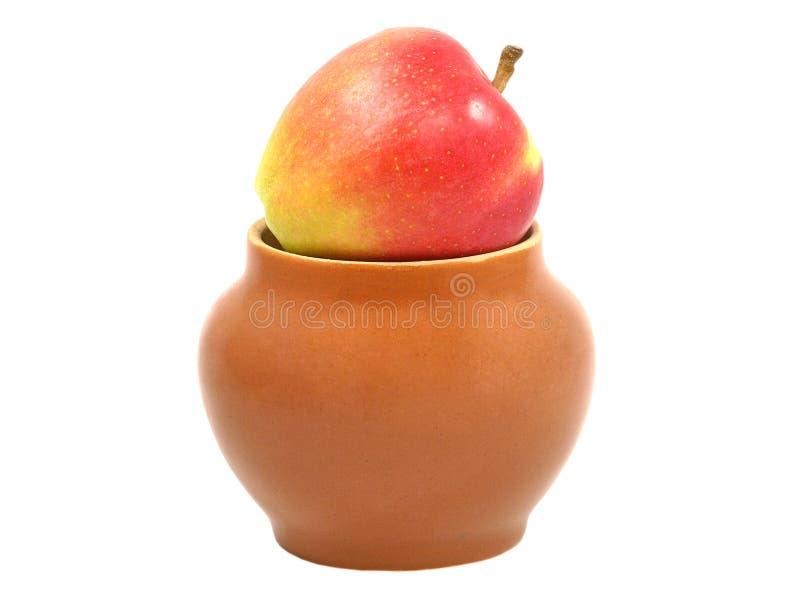 red för äpplelerakruka royaltyfri bild