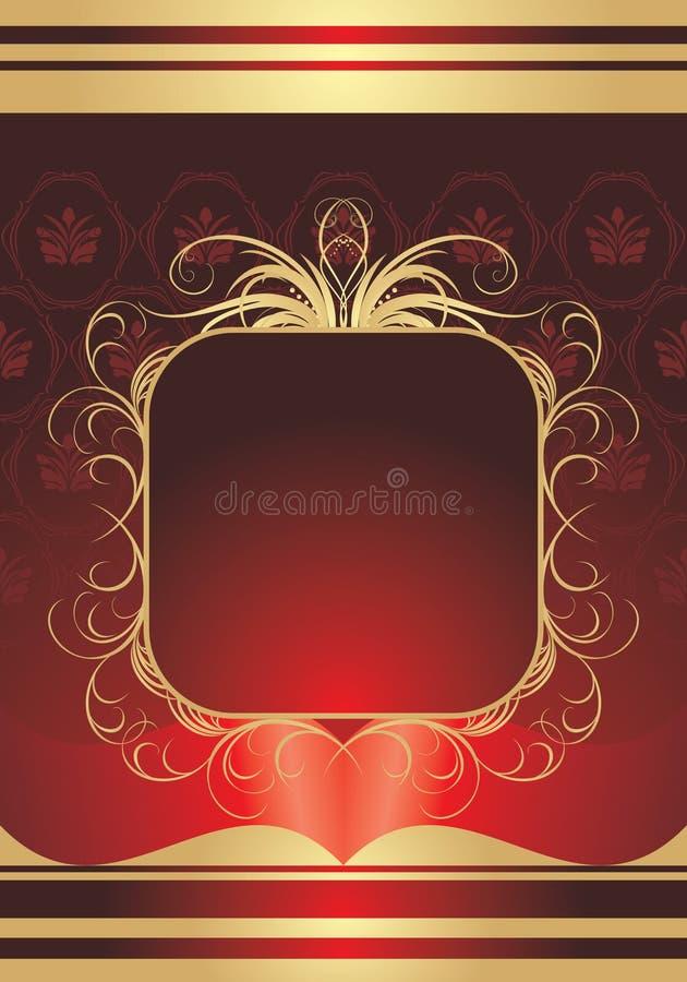 red för dekorativ ram för bakgrund guld- stock illustrationer