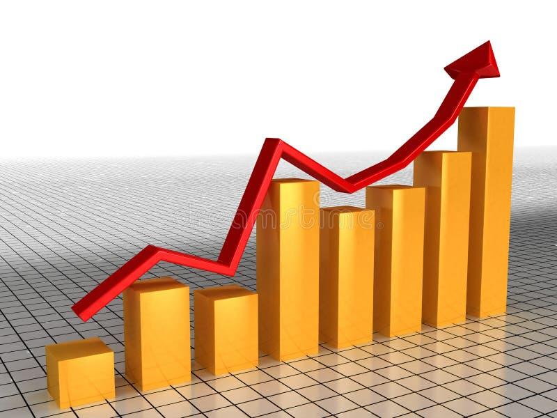 red för ekonomisk tillväxt för 3 pildiagram vektor illustrationer