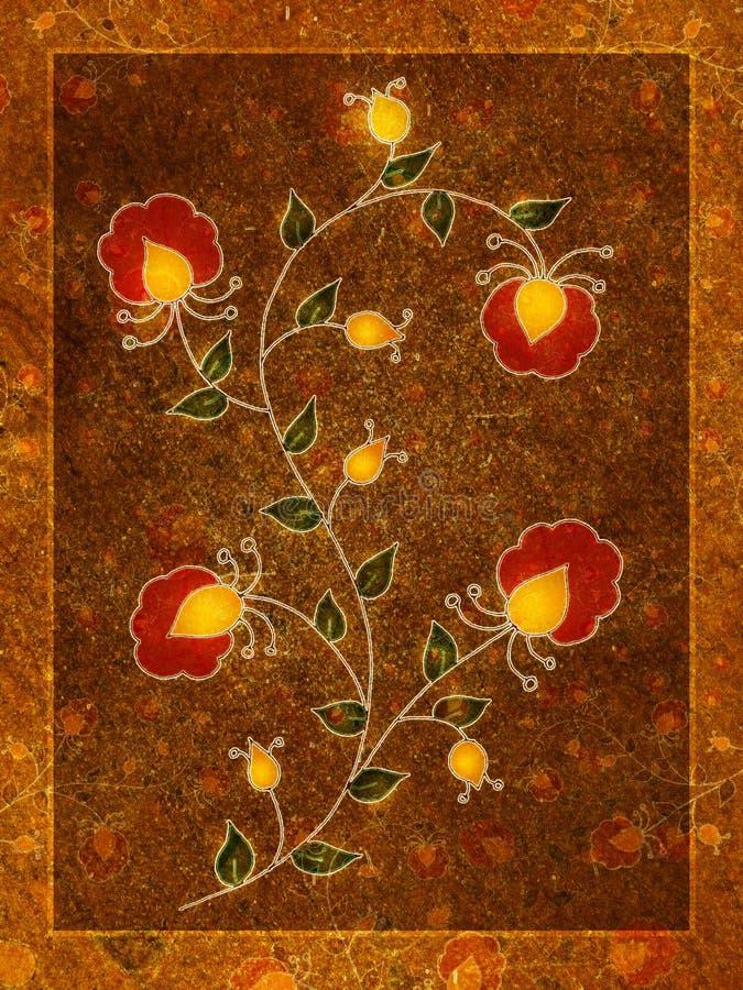 red för guld för konstblomningblomma royaltyfri illustrationer