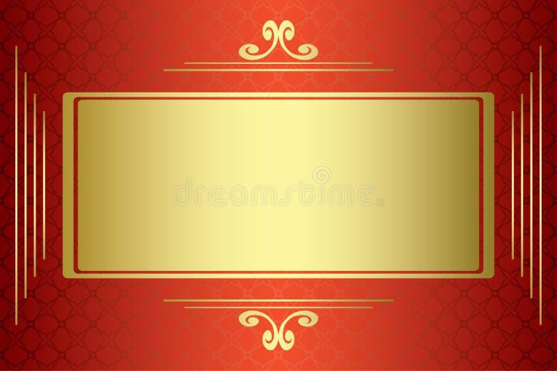 red för guld för kortram stock illustrationer