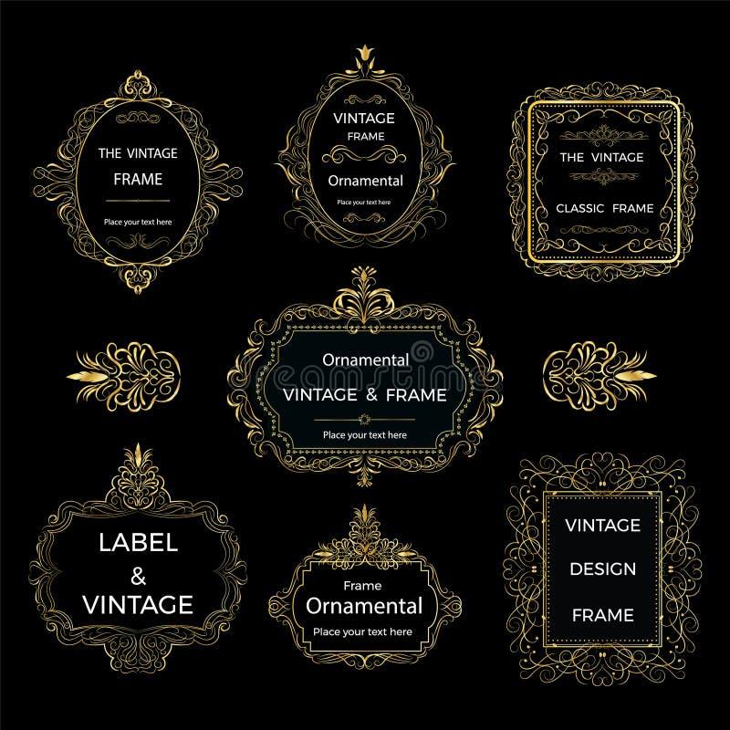red för guld för ram för bakgrundsfärg mörk dekorativ Vektor för tappninglogomallar royaltyfri illustrationer