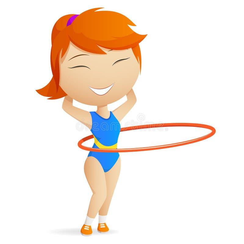 red för hula för flickagymnastbeslag vektor illustrationer