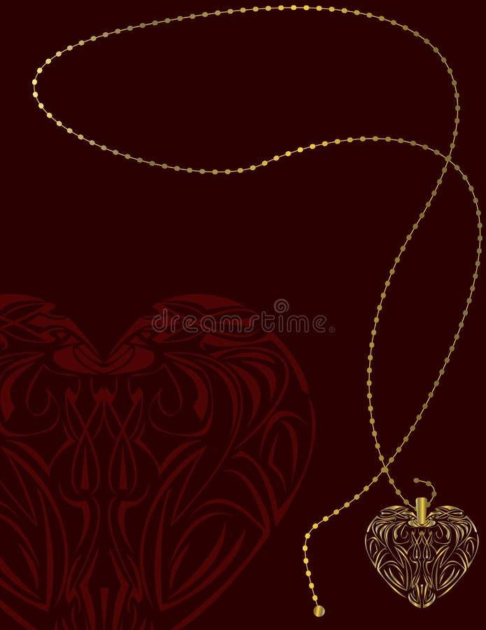 red för locket för bakgrundsguldhjärta stock illustrationer