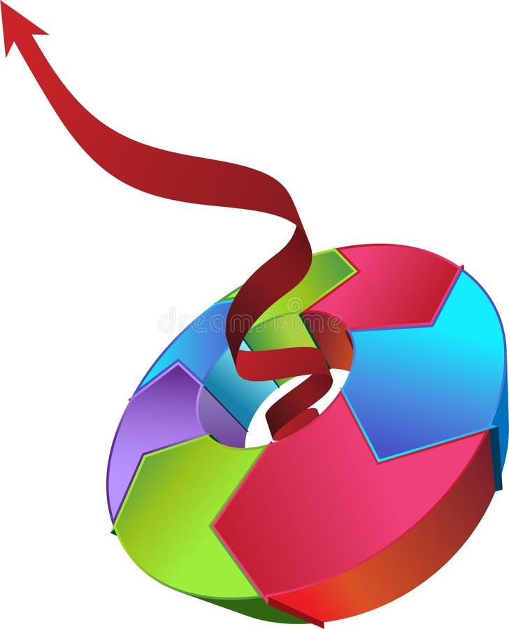 red för pilcirkuleringsbehandling vektor illustrationer
