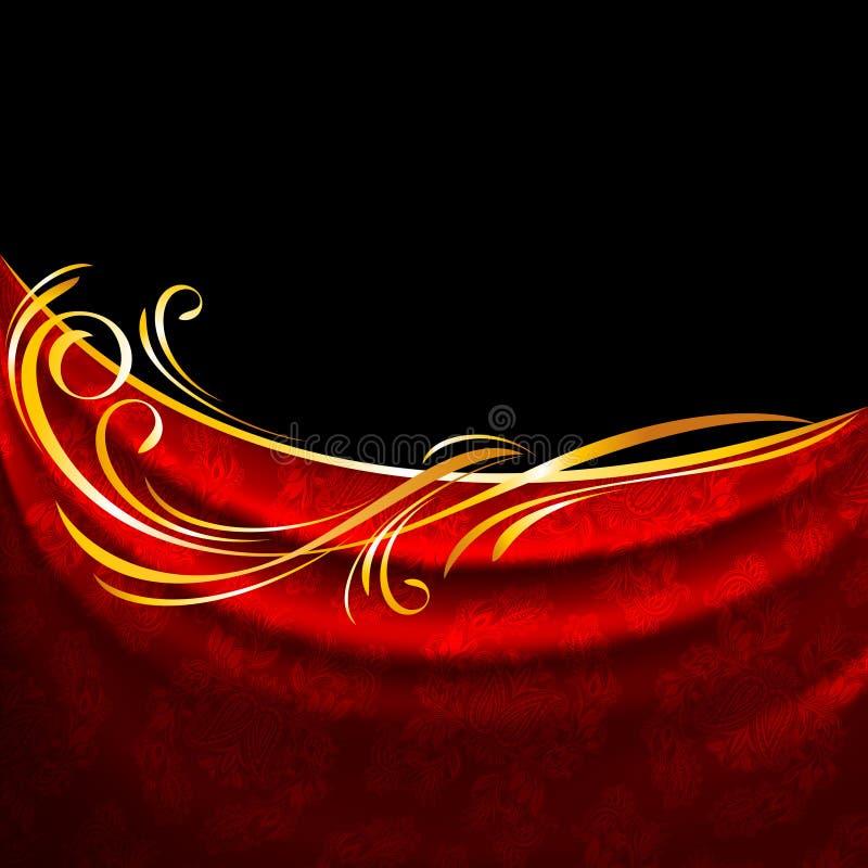 Red fabric drapes on black background, gold vignette royalty free illustration