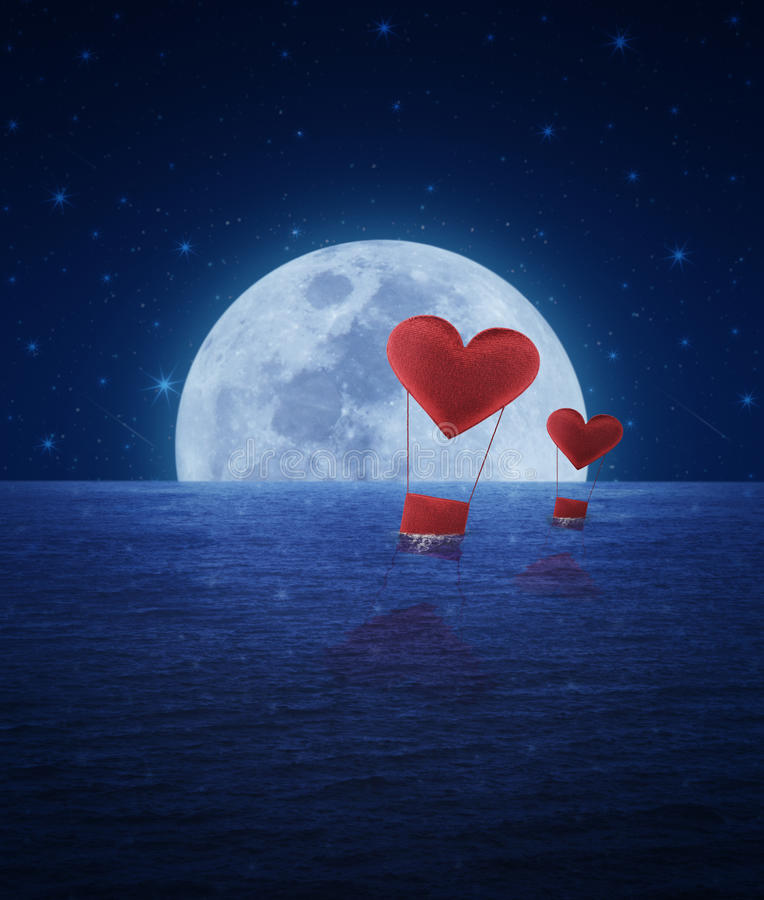 Red Fabric Heart Air Balloon On Fantasy Sea Sky And Moon