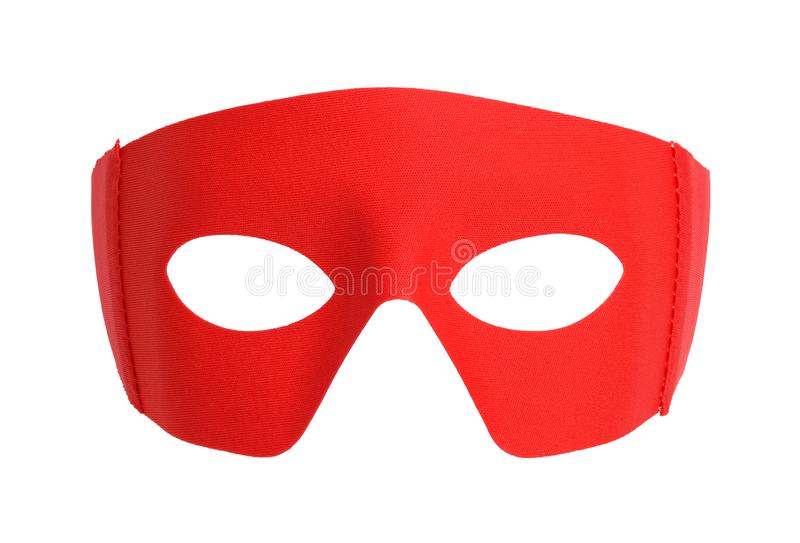 Red Fabric Mask. Red Fabric Hero Mask Isolated on White royalty free stock images