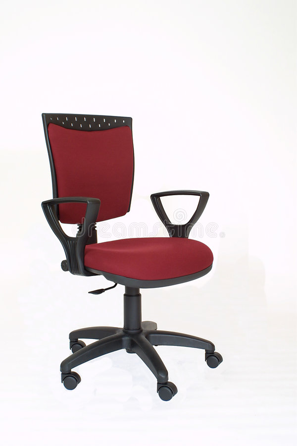 Red fabric office chair stock images
