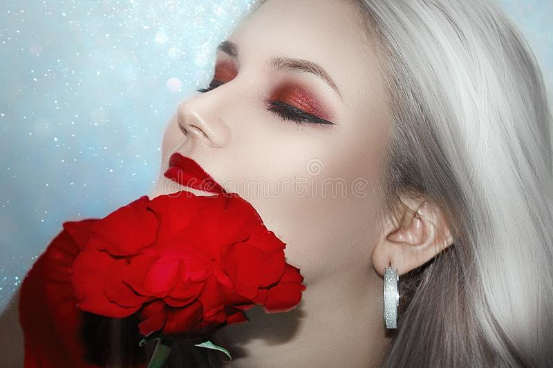 Red, Face, Beauty, Flower stock image