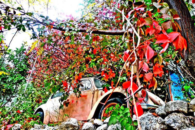Red faded. An old red car abandoned on a terrain on the Greek island of Samos, Greece a aegean ancient and archaeological aristarchus as beautiful birthplace stock photography