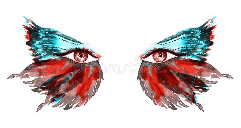 Red fairy eyes with makeup, red and green turquoise wings of butterfly shape eyeshadows vector illustration
