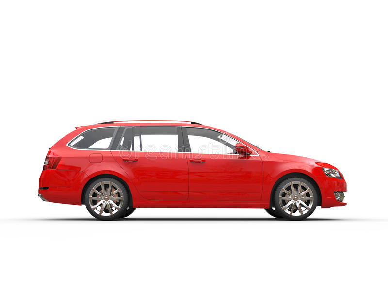 Red family car - side view. Isolated on white background stock photography