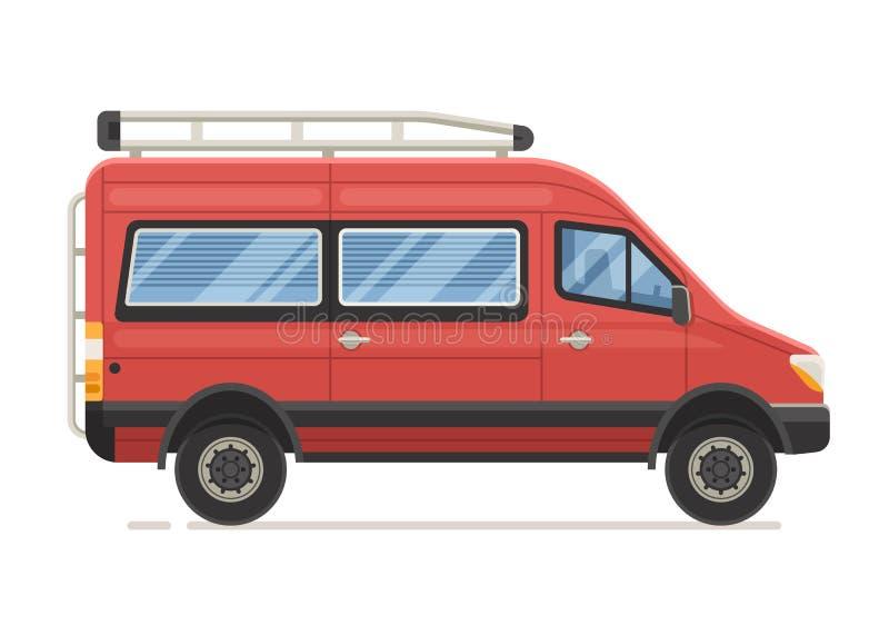 Red Family Minivan in Flat Design. Retro RV minivan in flat design. Family van icon. Old red microbus for road travel. Cartoon voyage car stock illustration