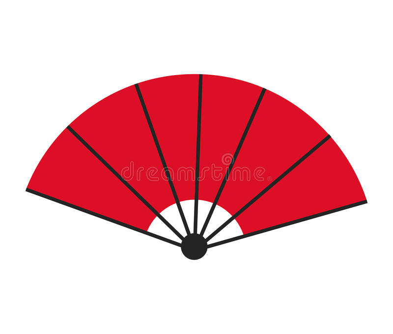 Red fan decorative ornament japanese royalty free illustration