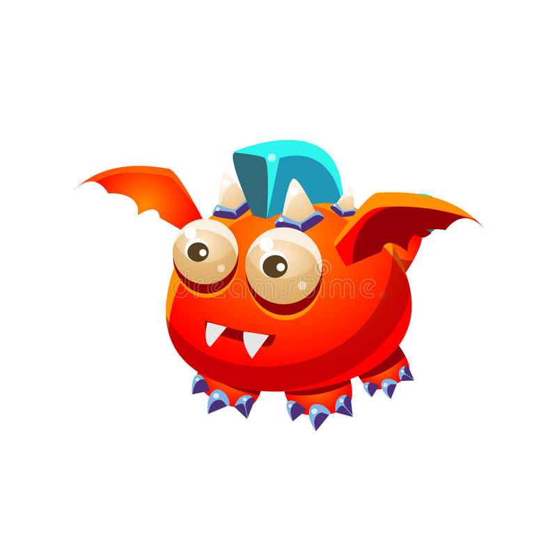 Red Fantastic Friendly Pet Dragon With Blue Mohawk Fantasy Imaginary Monster Collection stock illustration