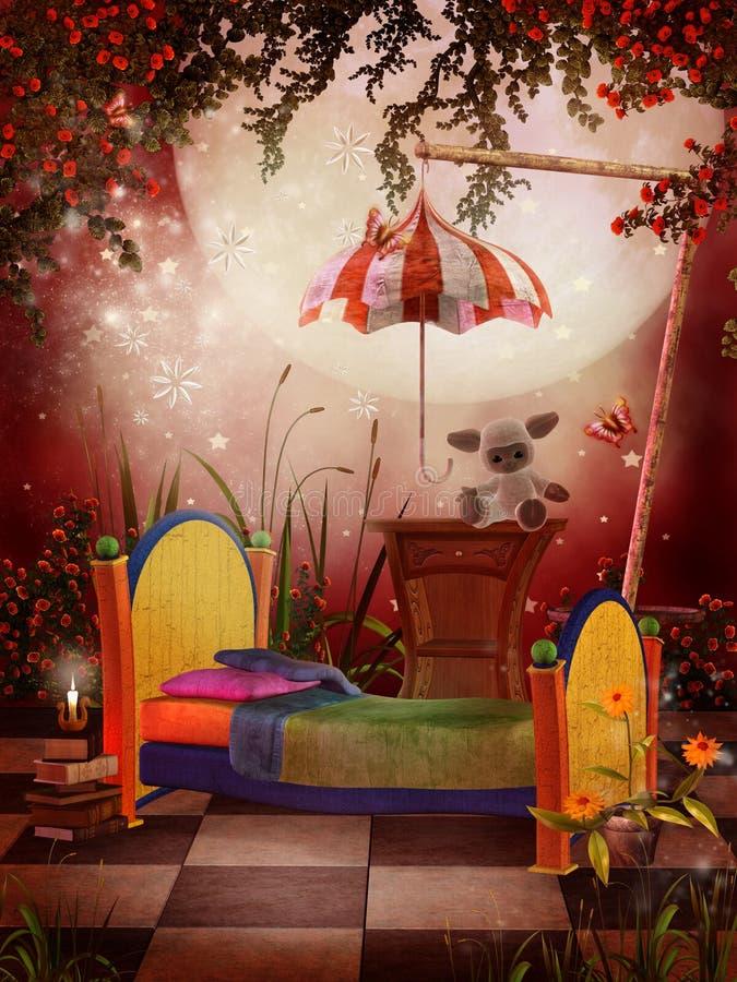 Red fantasy bedroom vector illustration