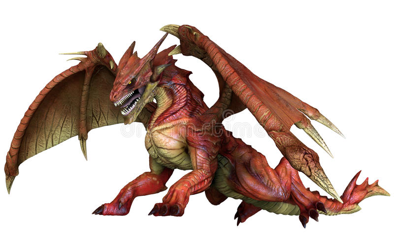 Red fantasy dragon. 3D render of a red fantasy dragon