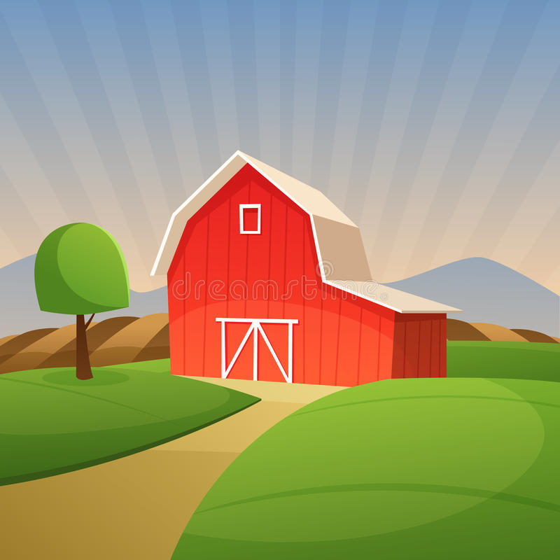 Red Farm Barn royalty free illustration