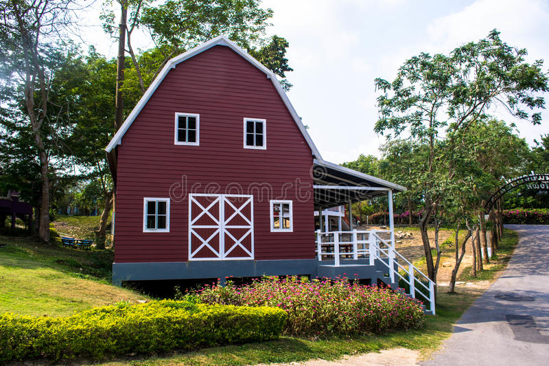 Red farm shed royalty free stock photos