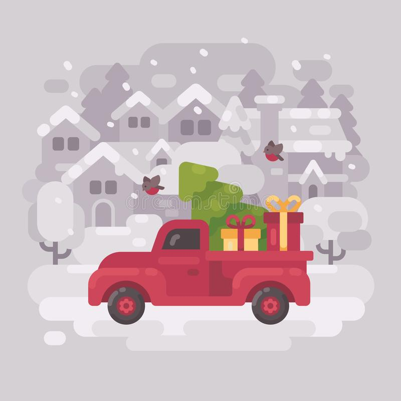 Red farm truck with a Christmas tree and presents in a small town vector illustration