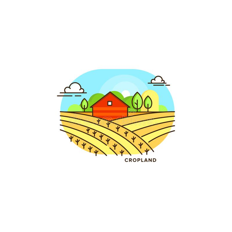 Red farmhouse in the field vector flat illustration isolated on white background. Eco farming icon, logo flat vector vector illustration
