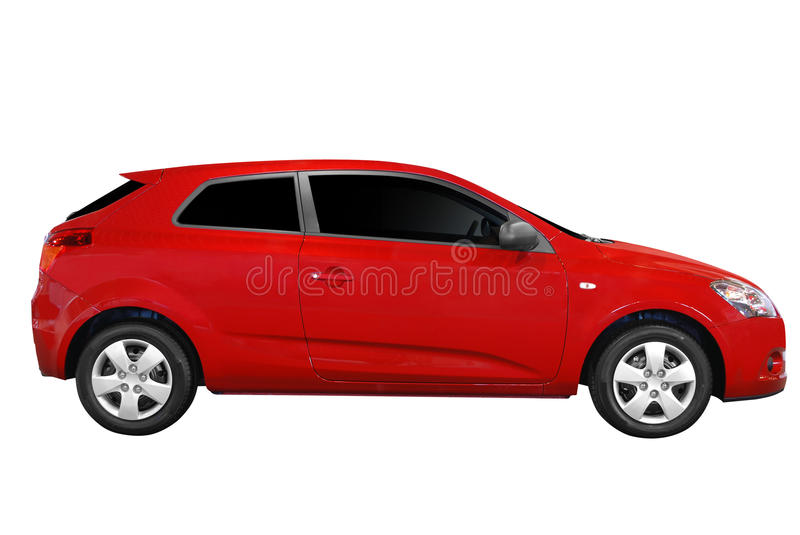 Red fast car isolated royalty free stock images