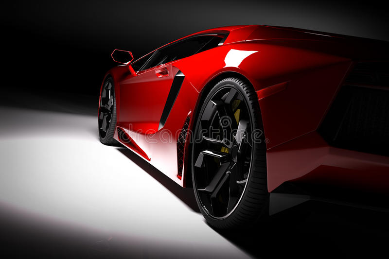 Red fast sports car in spotlight, black background. Shiny, new, luxurious. stock illustration