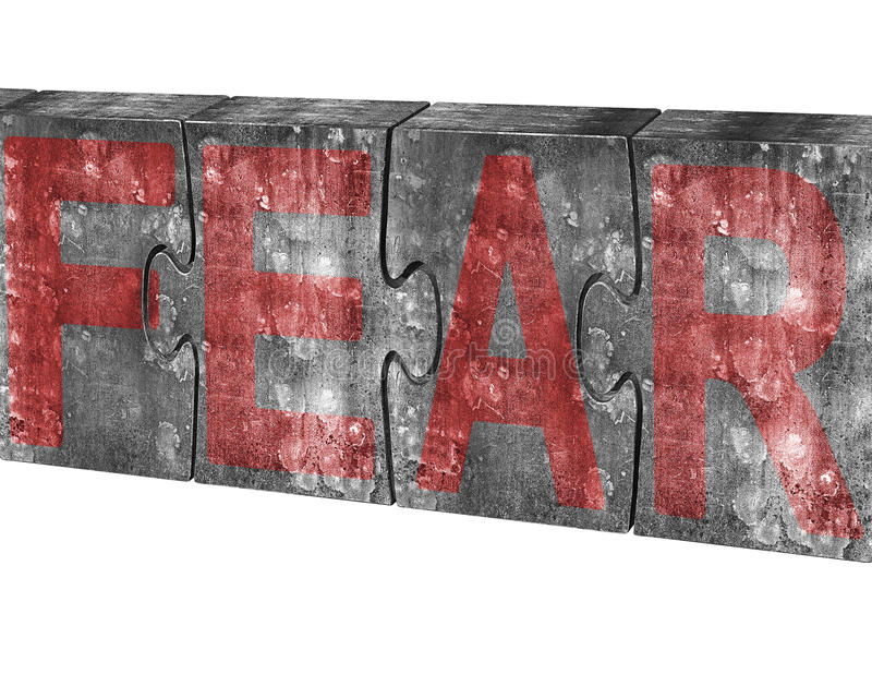 Red fear word on huge concrete puzzles isolated on white. Red fear word on four huge concrete puzzles connected together, isolated on white background royalty free stock images