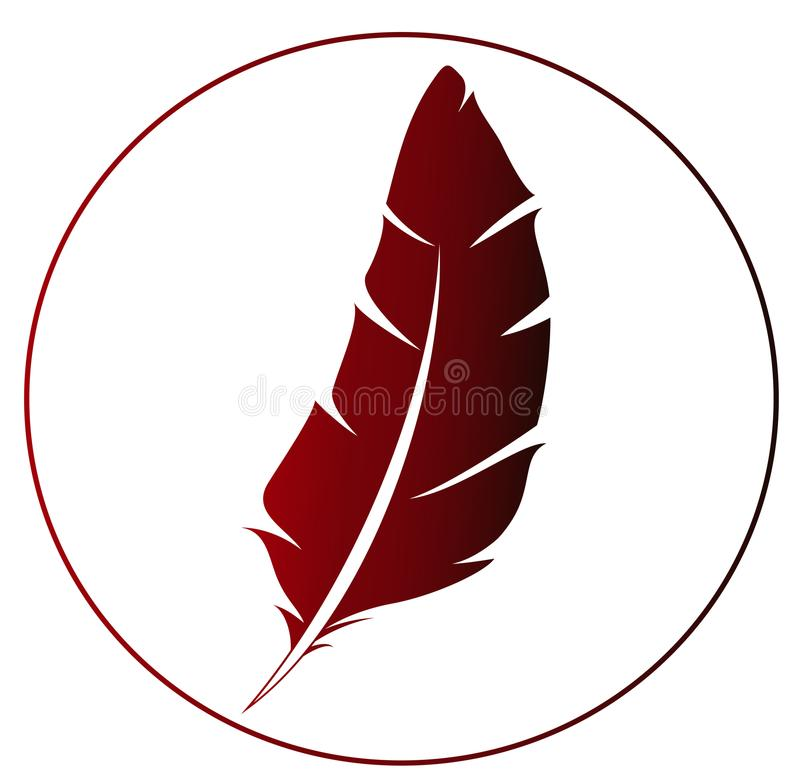 Red feather icon - idea for logo stock illustration