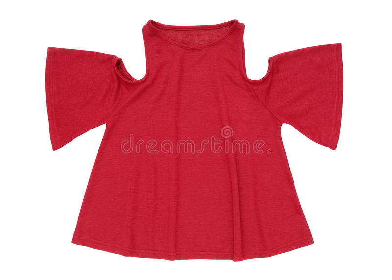 Red female knitted sweatshirt stock photos