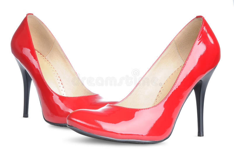 Red female shoes high heels isolated. On white background royalty free stock photography
