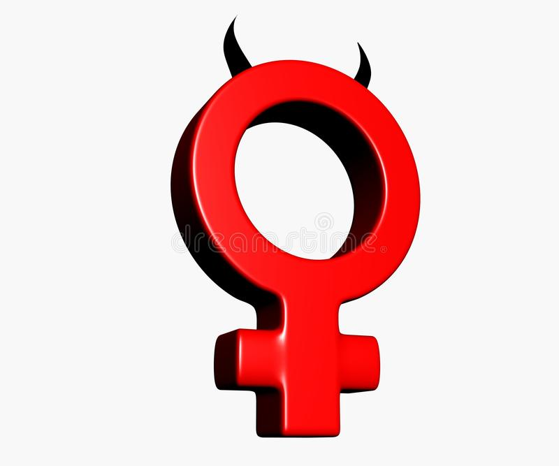 Download Female Symbol With Horns On White Background - 3d Illustration Stock Illustration - Image: 29979723