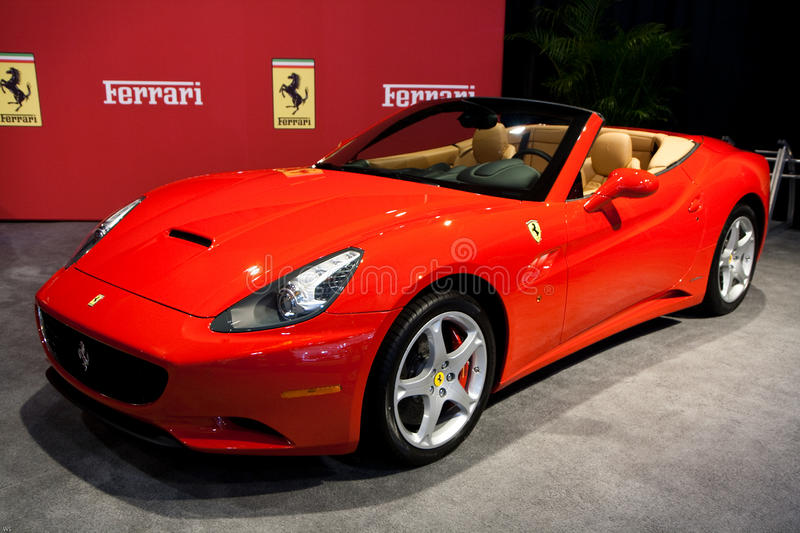 Red Ferrari California at the Toronto Auto Show royalty free stock photos