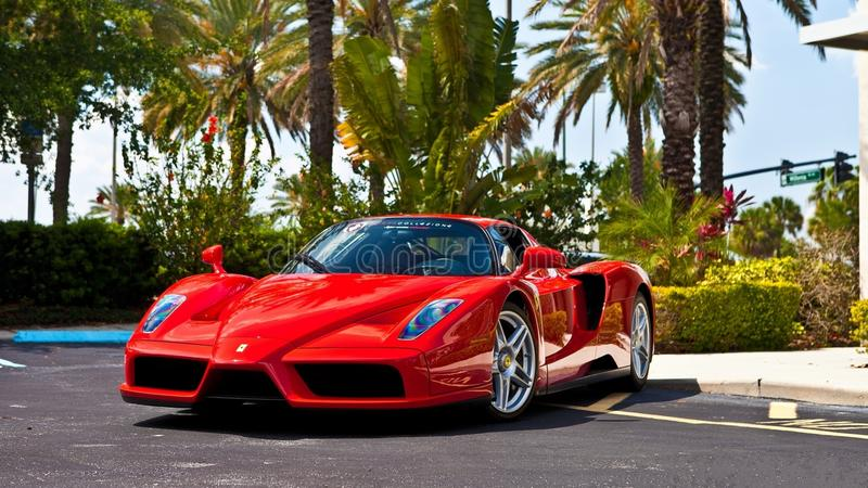 Red Ferrari Enzo editorial photography. Image of street - 73029382