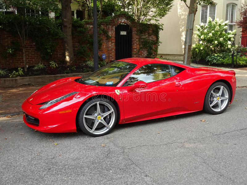 Red Ferrari in Georgetown editorial image. Image of automobile ...