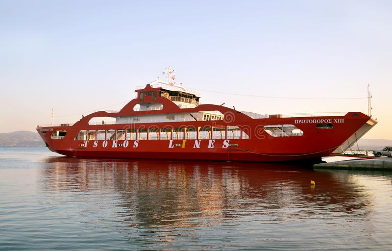 Red ferry boat at Eretria Euboea Greece - night sea scenery stock photography