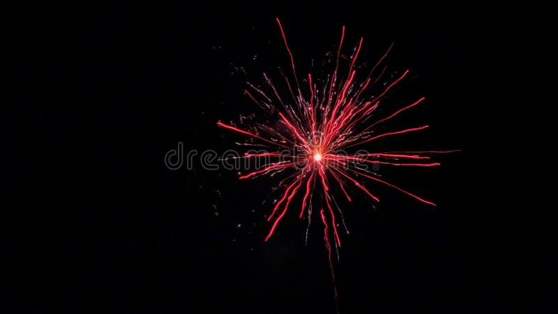 Red festive fireworks on the black night sky stock photo