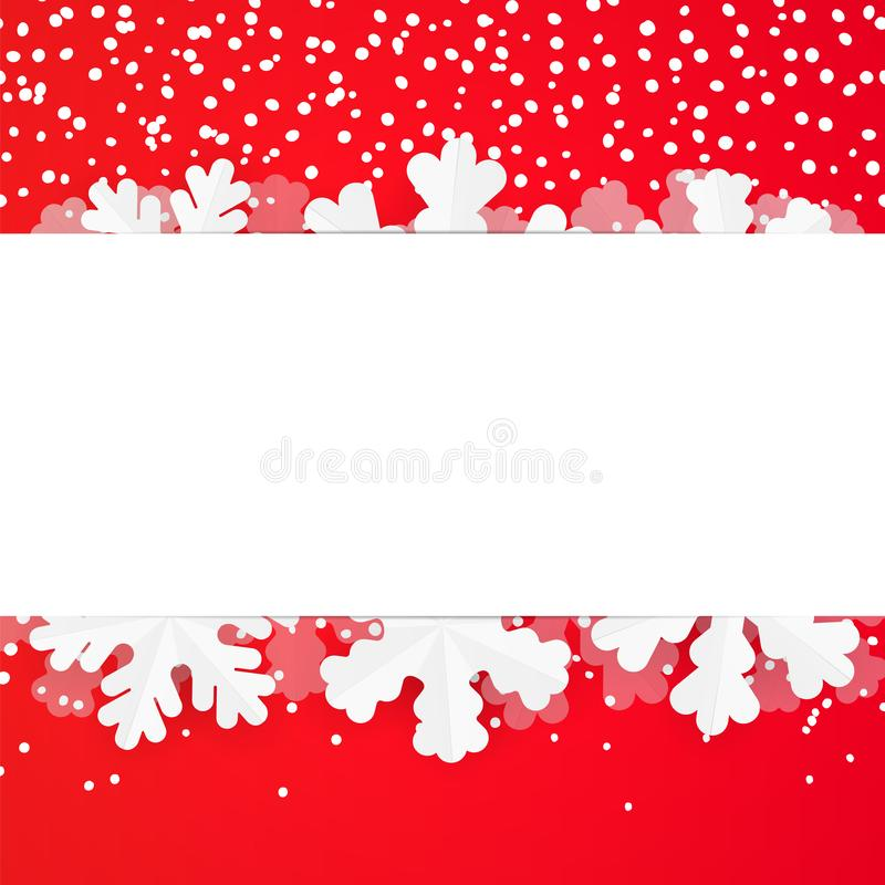Free Red Festive Winter Greeting Card Design Template With Paper Snowflakes. Christmas And New Year Background With Copyspace And Snowf Stock Photography - 127783422