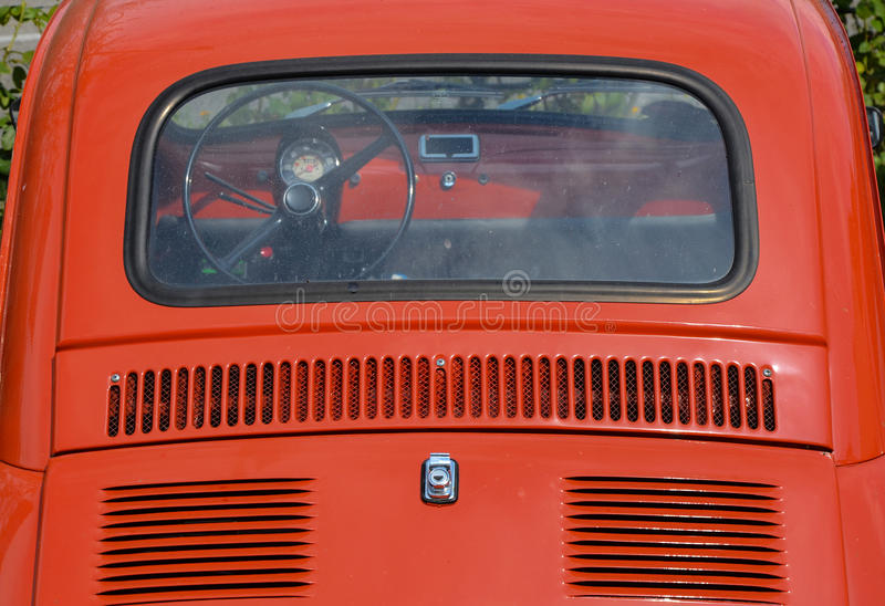 Fiat 500. Red fiat 500 from behind close up photo royalty free stock photo
