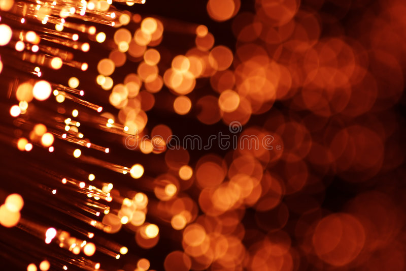 Red fiber optics. Bright red fiber optics close-up stock image